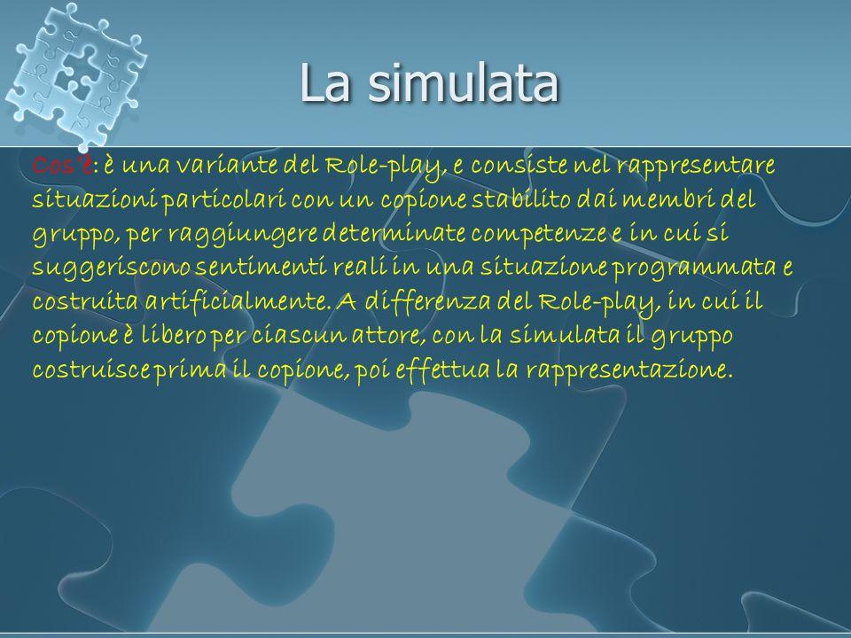 La simulata Cosè: è una variante del Role-play, e consiste nel rappresentare situazioni particolari con un copione stabilito dai membri del gruppo, pe