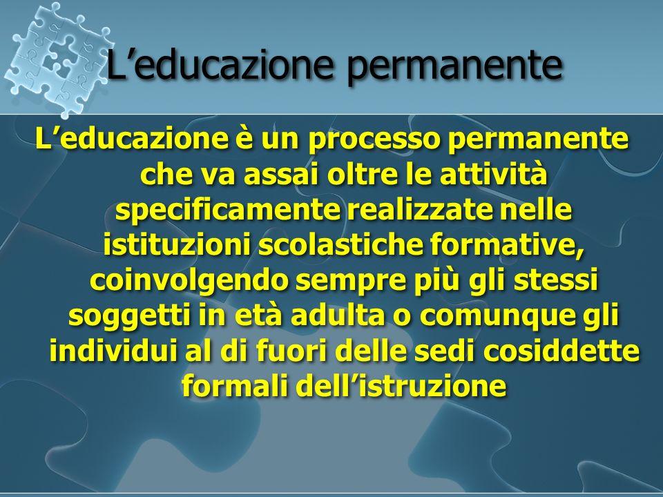 Educazione degli Adulti Si riferisce allo studio e alla ricerca degli ambiti teorico-operativi in cui gli individui adulti sono impegnati in processi di apprendimento finalizzati ad obiettivi diversi (sviluppo professionale, realizzazione di sé, cittadinanza attiva)