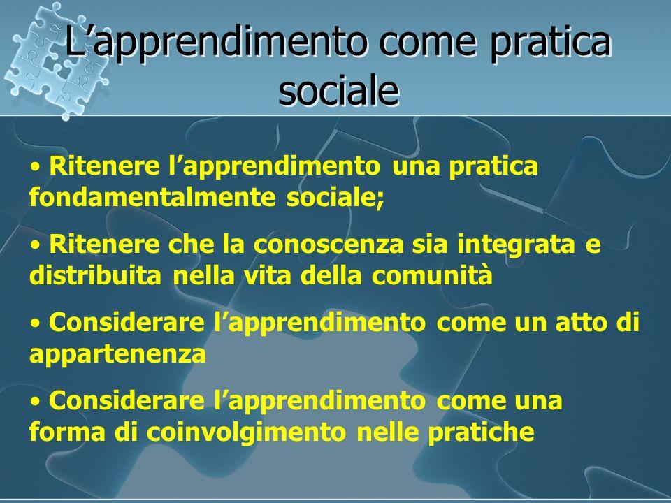 Lapprendimento come pratica sociale Ritenere lapprendimento una pratica fondamentalmente sociale; Ritenere che la conoscenza sia integrata e distribui