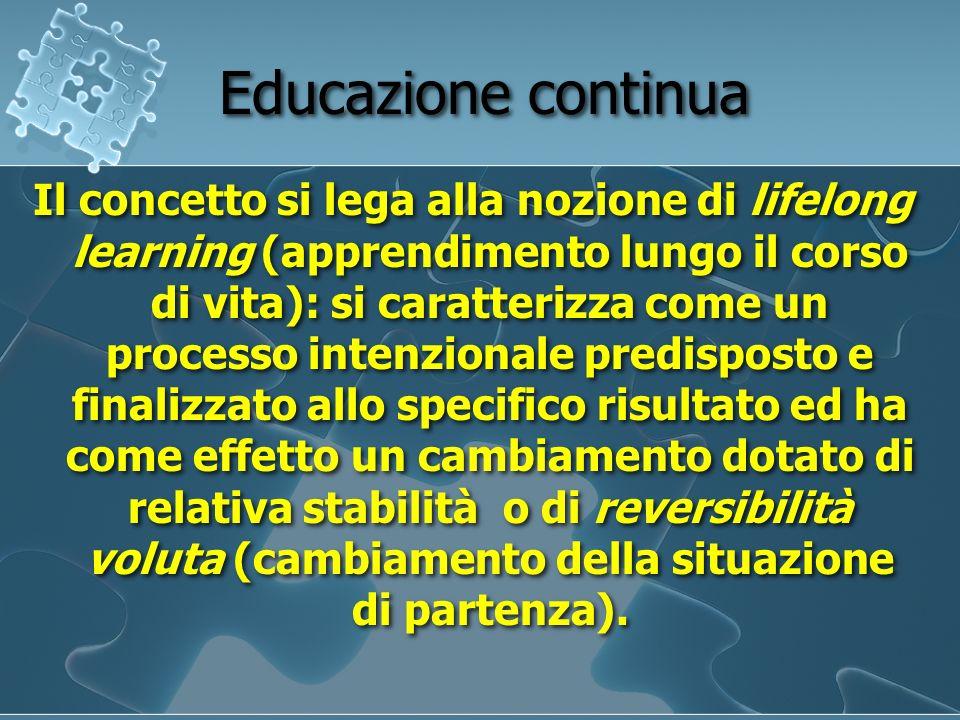 Educazione continua Il concetto si lega alla nozione di lifelong learning (apprendimento lungo il corso di vita): si caratterizza come un processo int