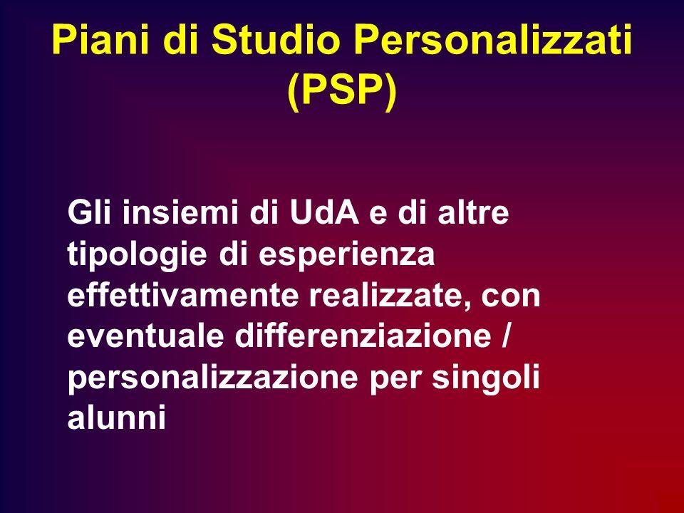 Piani di Studio Personalizzati (PSP) Gli insiemi di UdA e di altre tipologie di esperienza effettivamente realizzate, con eventuale differenziazione /