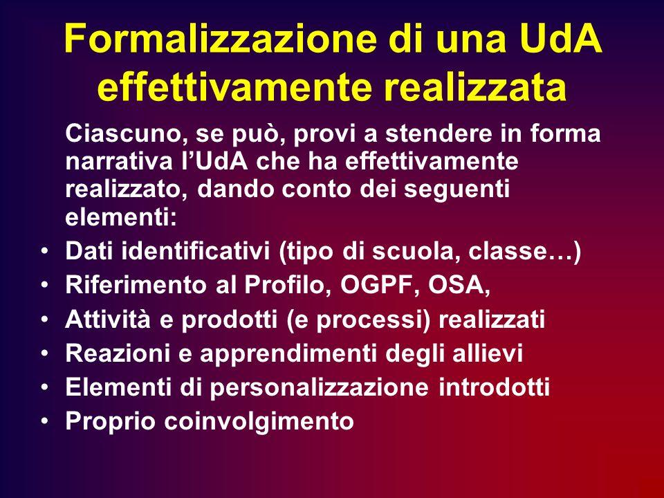 Formalizzazione di una UdA effettivamente realizzata Ciascuno, se può, provi a stendere in forma narrativa lUdA che ha effettivamente realizzato, dand