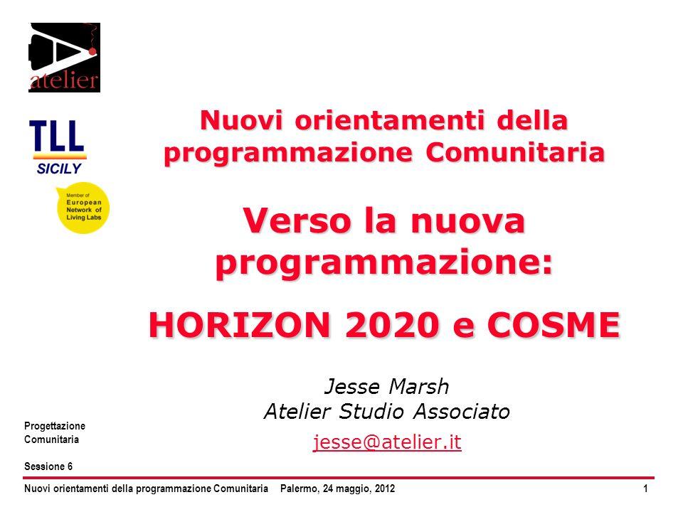 Nuovi orientamenti della programmazione ComunitariaPalermo, 24 maggio, 20122 Progettazione Comunitaria Sessione 6 Architettura di un ciclo Strategia generale EU Strategia applicata Fondo Programma (DG) Sotto-programma Progetti