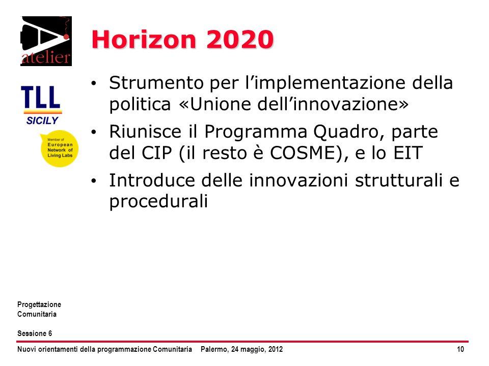 Nuovi orientamenti della programmazione ComunitariaPalermo, 24 maggio, 201210 Progettazione Comunitaria Sessione 6 Horizon 2020 Strumento per limpleme