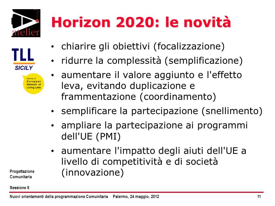 Nuovi orientamenti della programmazione ComunitariaPalermo, 24 maggio, 201211 Progettazione Comunitaria Sessione 6 Horizon 2020: le novità chiarire gl
