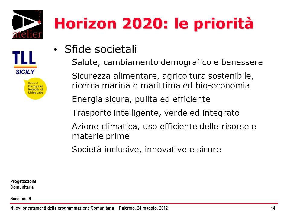Nuovi orientamenti della programmazione ComunitariaPalermo, 24 maggio, 201214 Progettazione Comunitaria Sessione 6 Horizon 2020: le priorità Sfide soc
