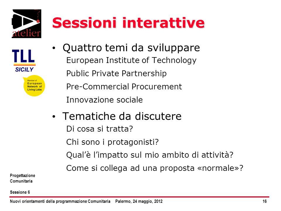 Nuovi orientamenti della programmazione ComunitariaPalermo, 24 maggio, 201216 Progettazione Comunitaria Sessione 6 Sessioni interattive Quattro temi d