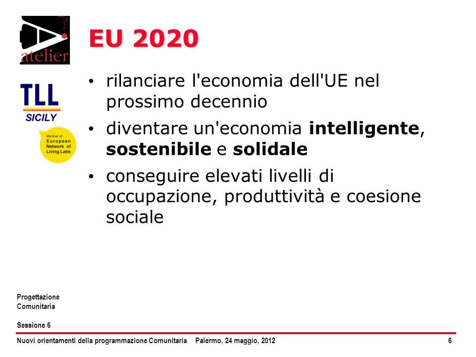 Nuovi orientamenti della programmazione ComunitariaPalermo, 24 maggio, 20126 Progettazione Comunitaria Sessione 6 EU 2020 rilanciare l'economia dell'U
