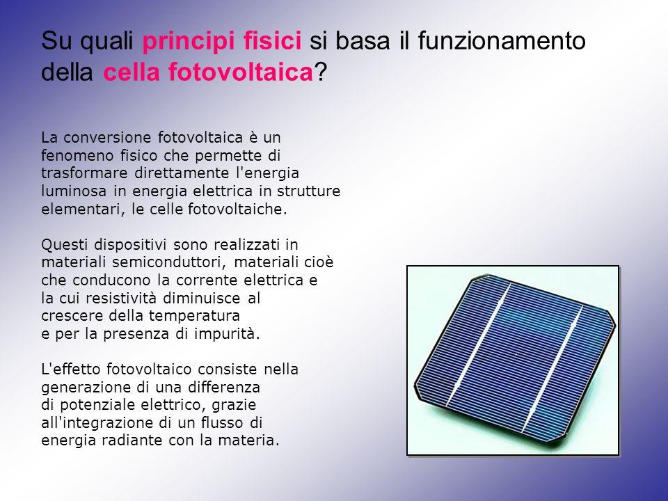 Su quali principi fisici si basa il funzionamento della cella fotovoltaica? La conversione fotovoltaica è un fenomeno fisico che permette di trasforma