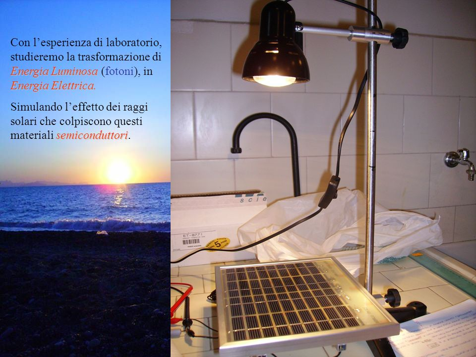 Energia Luminosa Energia Elettrica. Con lesperienza di laboratorio, studieremo la trasformazione di Energia Luminosa (fotoni), in Energia Elettrica. s