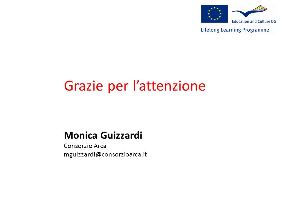 http://ec.europa.eu/education/index_en.htm Grazie per lattenzione Monica Guizzardi Consorzio Arca mguizzardi@consorzioarca.it