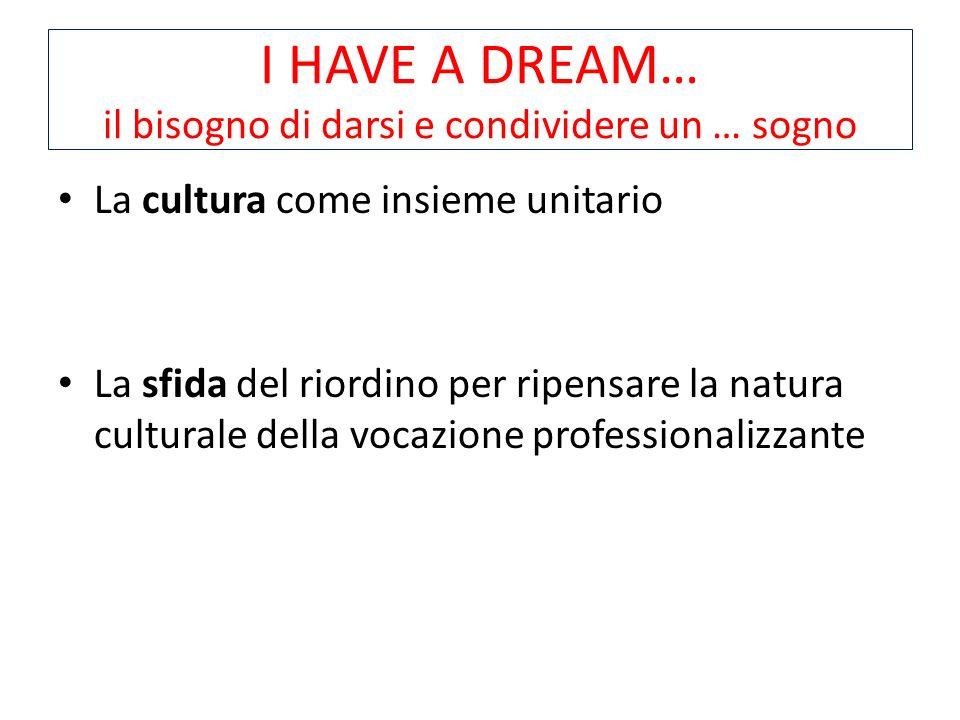 I HAVE A DREAM… il bisogno di darsi e condividere un … sogno La cultura come insieme unitario La sfida del riordino per ripensare la natura culturale