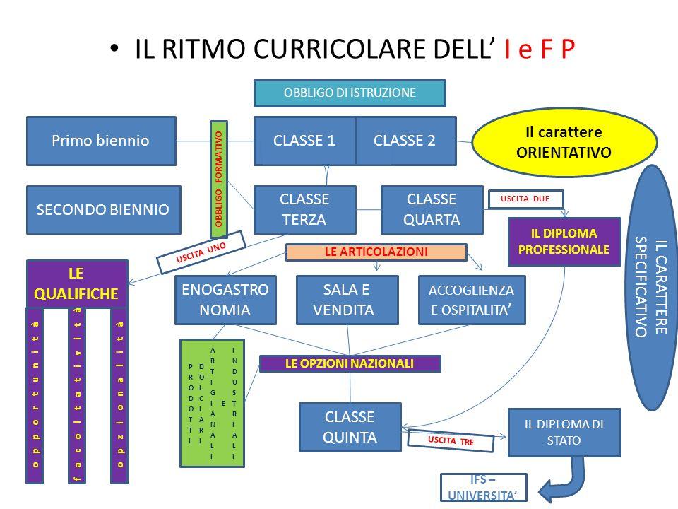 IL RITMO CURRICOLARE DELL I e F P CLASSE 1CLASSE 2 CLASSE TERZA CLASSE QUARTA CLASSE QUINTA Primo biennio Il carattere ORIENTATIVO SECONDO BIENNIO ENO