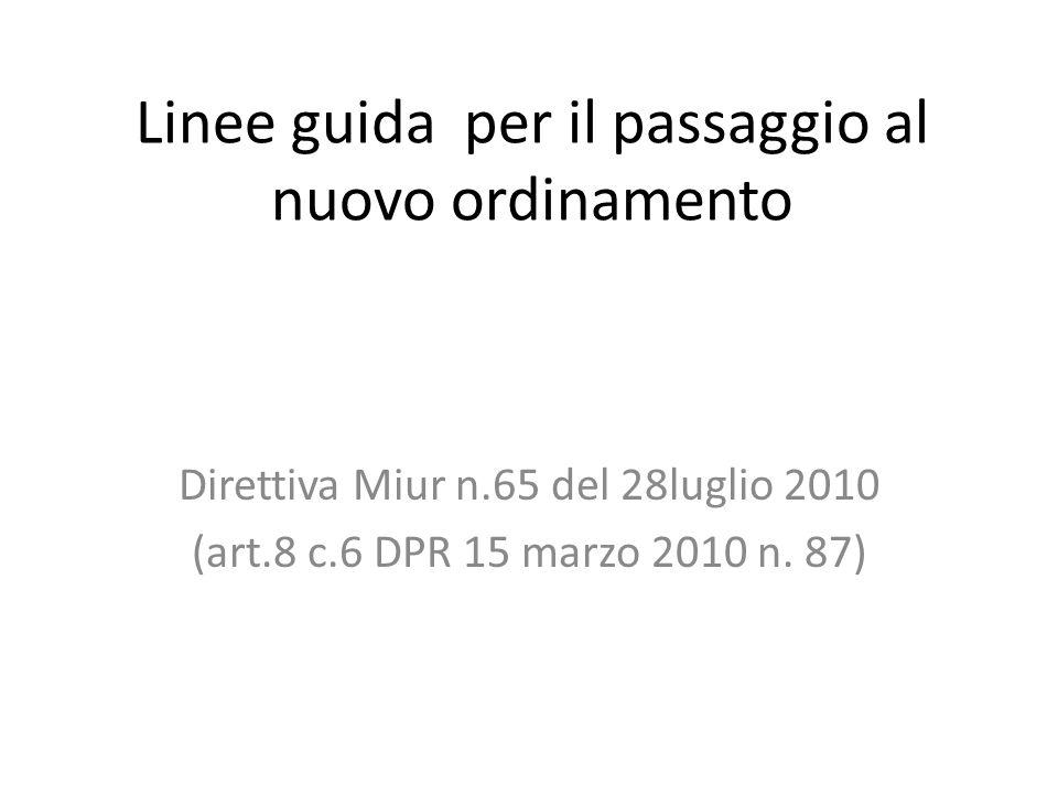 Linee guida per il passaggio al nuovo ordinamento Direttiva Miur n.65 del 28luglio 2010 (art.8 c.6 DPR 15 marzo 2010 n.