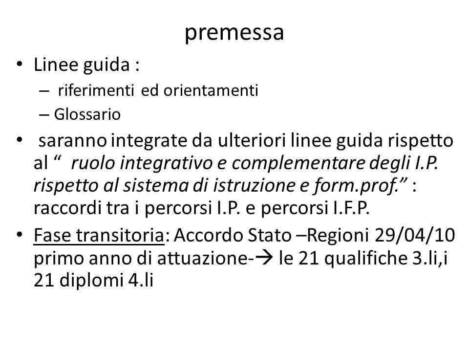 premessa Linee guida : – riferimenti ed orientamenti – Glossario saranno integrate da ulteriori linee guida rispetto al ruolo integrativo e complementare degli I.P.
