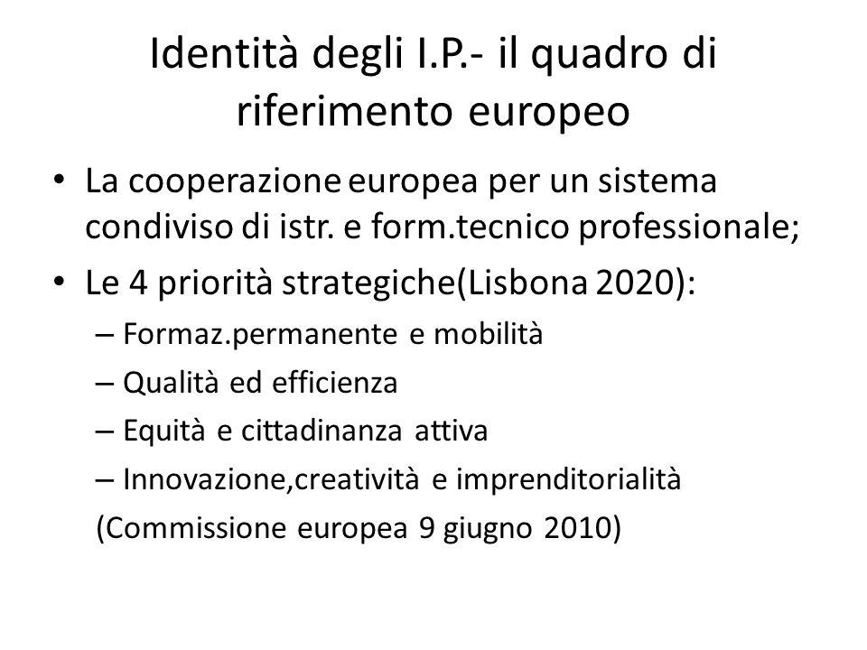 Identità degli I.P.- il quadro di riferimento europeo La cooperazione europea per un sistema condiviso di istr.