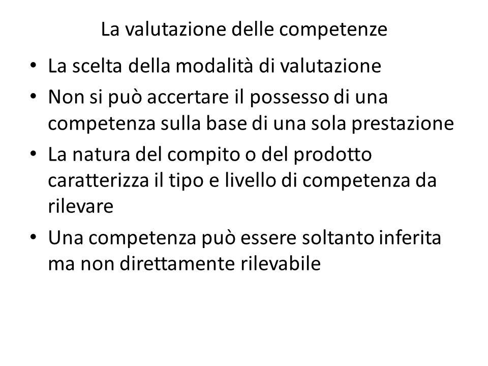 La valutazione delle competenze La scelta della modalità di valutazione Non si può accertare il possesso di una competenza sulla base di una sola prestazione La natura del compito o del prodotto caratterizza il tipo e livello di competenza da rilevare Una competenza può essere soltanto inferita ma non direttamente rilevabile