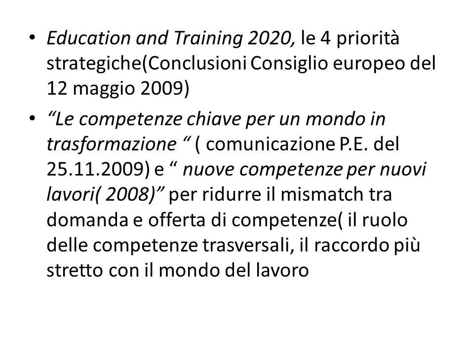 Education and Training 2020, le 4 priorità strategiche(Conclusioni Consiglio europeo del 12 maggio 2009) Le competenze chiave per un mondo in trasformazione ( comunicazione P.E.