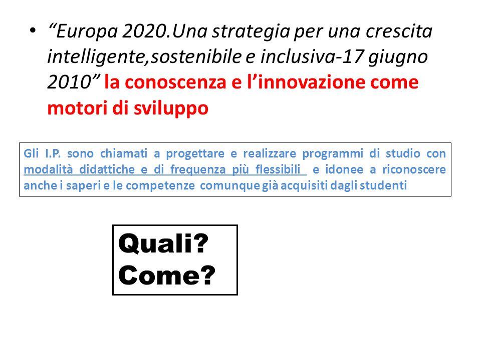 Europa 2020.Una strategia per una crescita intelligente,sostenibile e inclusiva-17 giugno 2010 la conoscenza e linnovazione come motori di sviluppo Gli I.P.
