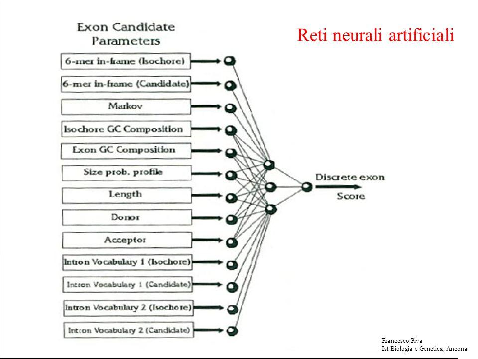 Reti neurali artificiali Francesco Piva Ist Biologia e Genetica, Ancona