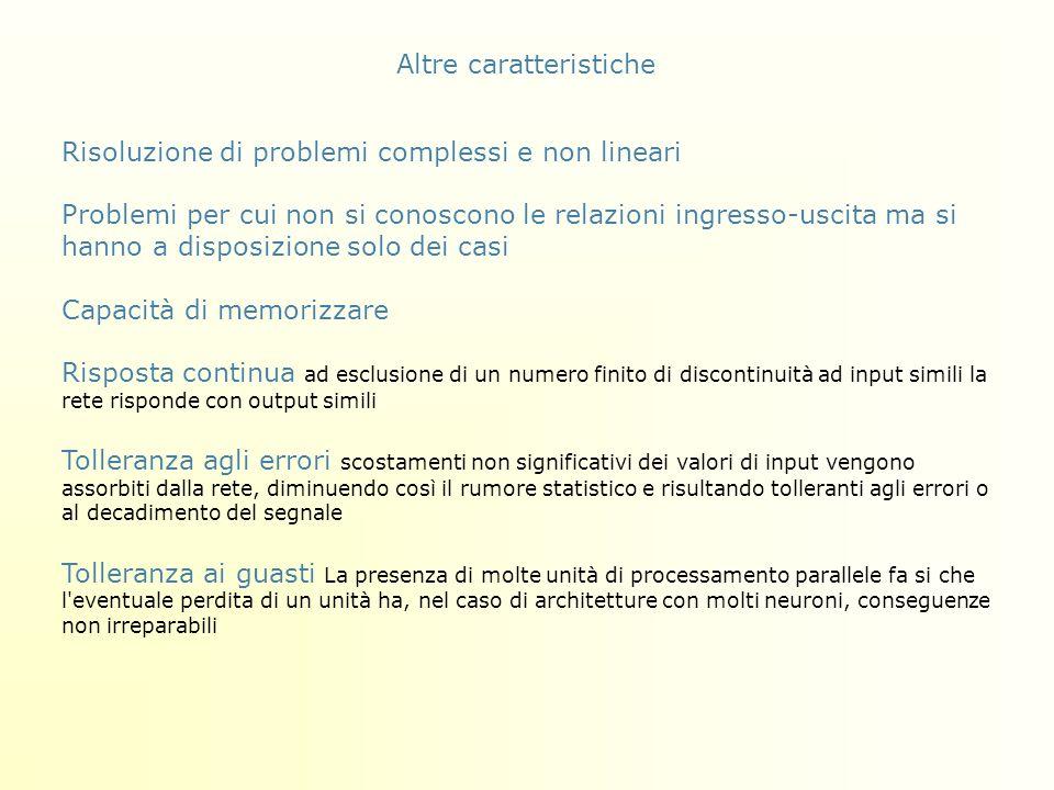Altre caratteristiche Risoluzione di problemi complessi e non lineari Problemi per cui non si conoscono le relazioni ingresso-uscita ma si hanno a dis