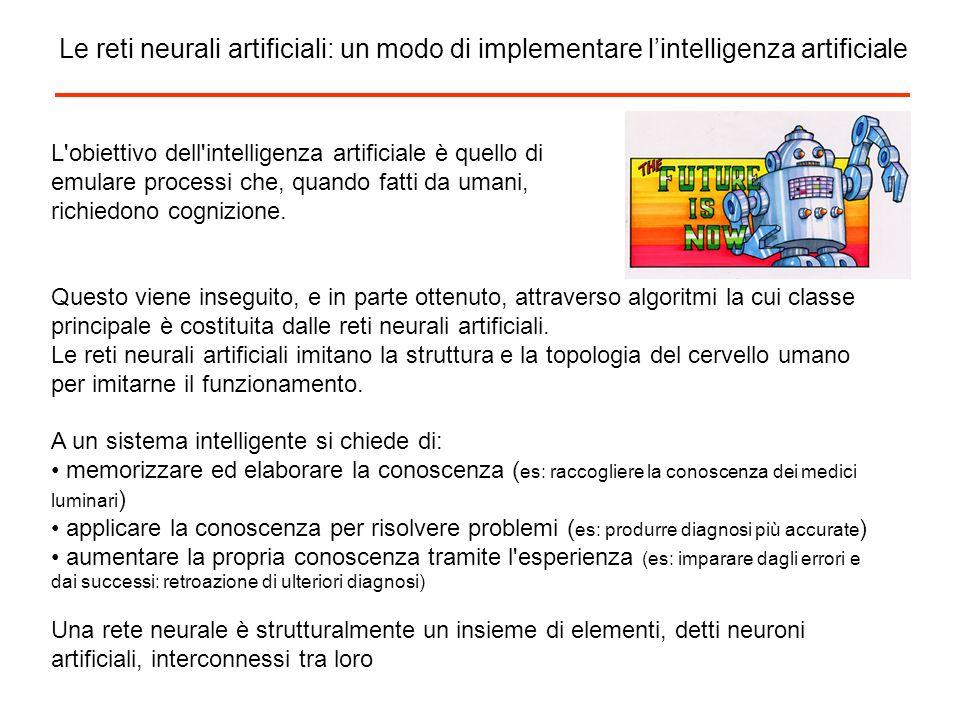 Le reti neurali artificiali: un modo di implementare lintelligenza artificiale L'obiettivo dell'intelligenza artificiale è quello di emulare processi