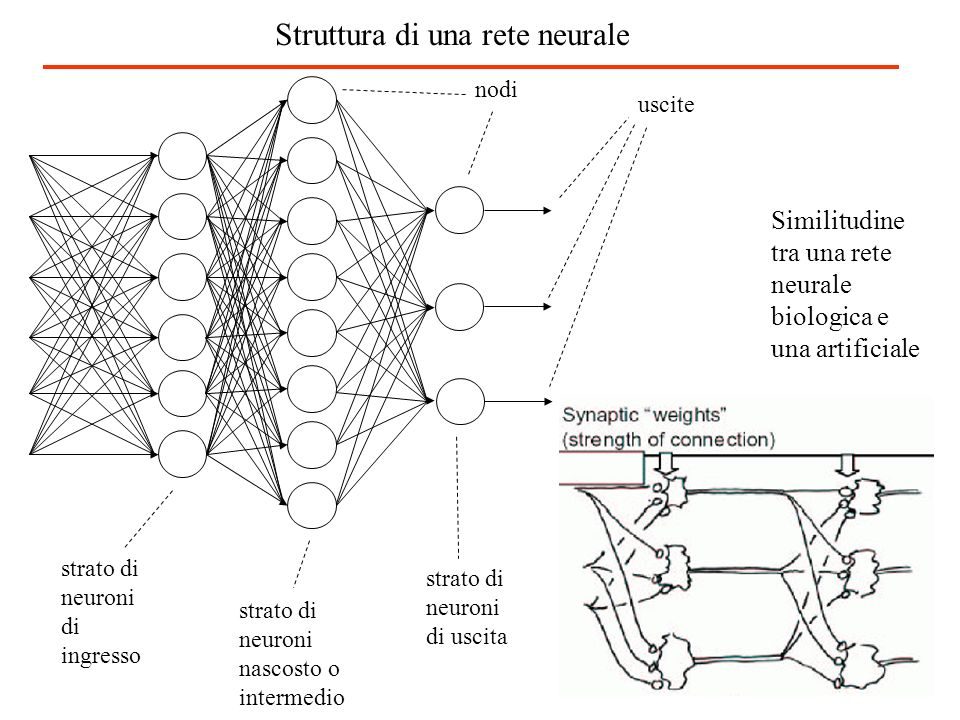 Nei computer, il software inteso come insieme di istruzioni, è eseguito dallhardware Nelluomo, la mente è il software che gira su un hardware biologico: il cervello In linea di principio la mente può essere riprodotta su qualsiasi macchina non biologica Le reti neurali artificiali sono un insieme di istruzioni eseguite da un sistema che storicamente è il processore di un computer nel futuro saranno i processori ottici e sistemi ibridi neuroni biologici – circuiti elettronici