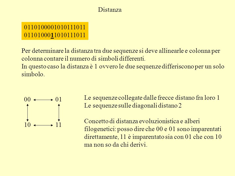 Distanza 0110100001010111011 0110100011010111011 Per determinare la distanza tra due sequenze si deve allinearle e colonna per colonna contare il numero di simboli differenti.