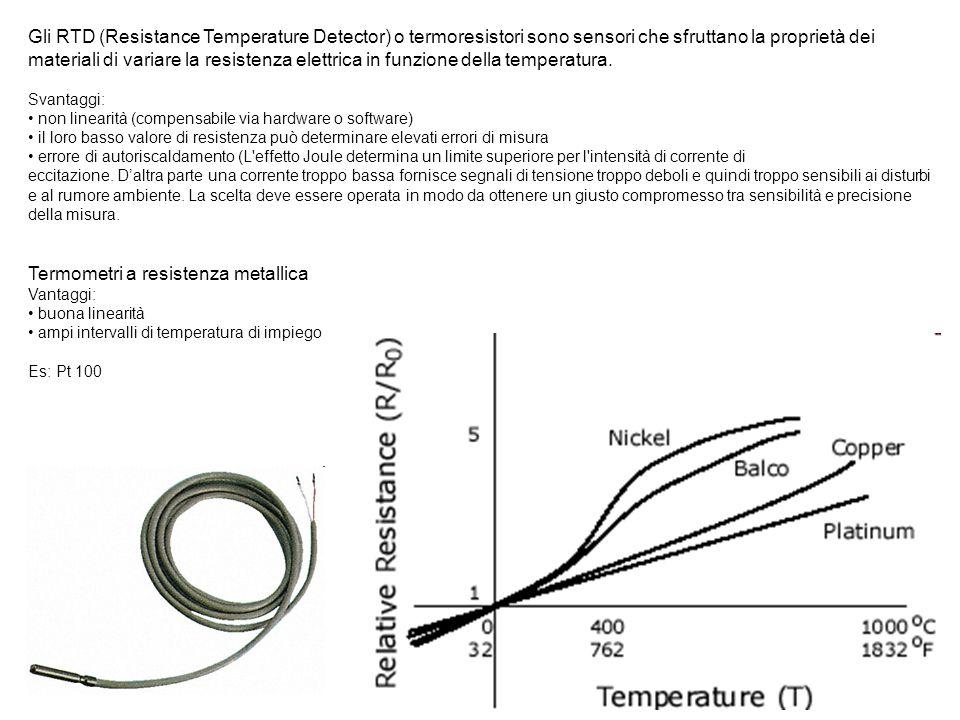 Gli RTD (Resistance Temperature Detector) o termoresistori sono sensori che sfruttano la proprietà dei materiali di variare la resistenza elettrica in
