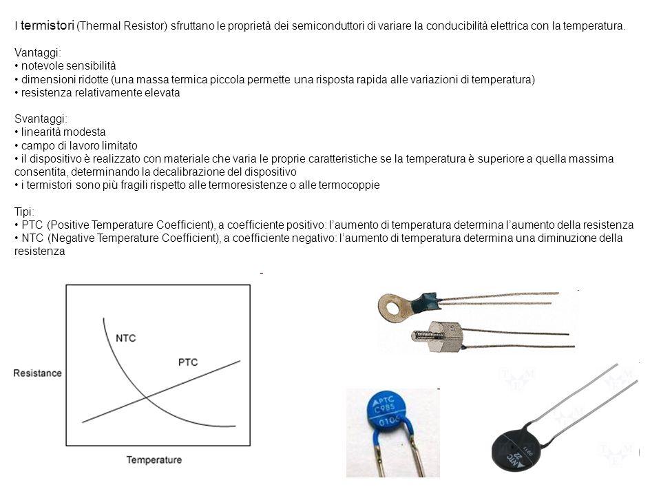 I termistori (Thermal Resistor) sfruttano le proprietà dei semiconduttori di variare la conducibilità elettrica con la temperatura. Vantaggi: notevole