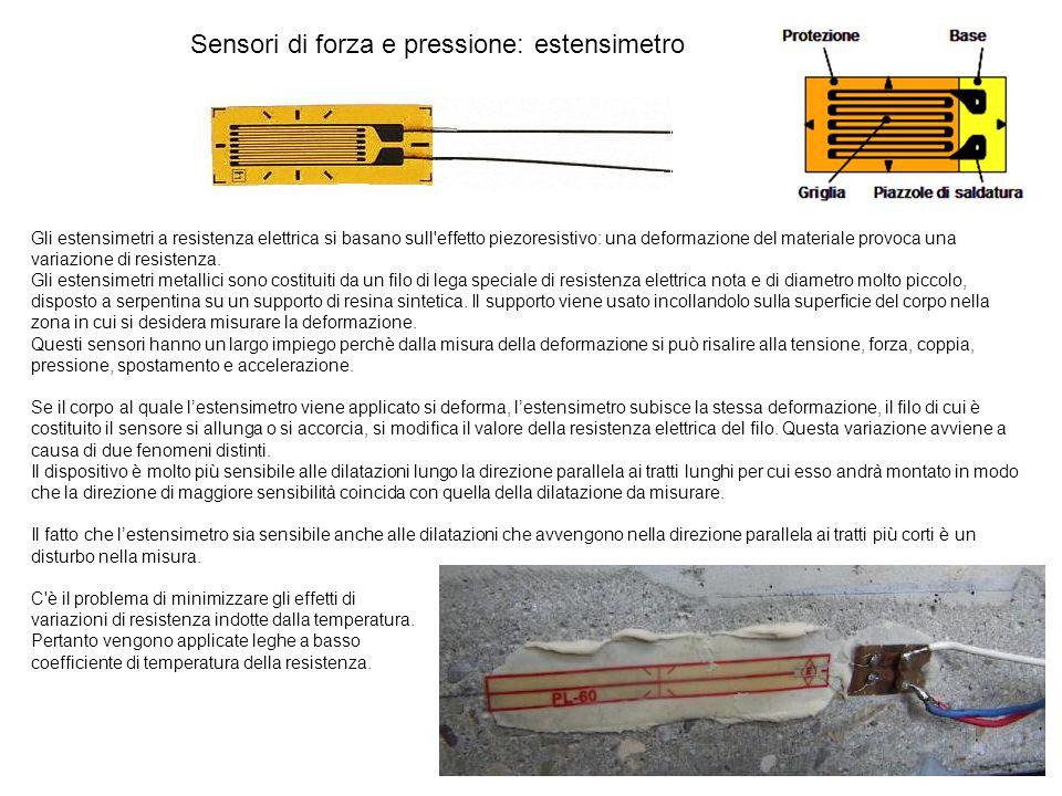 Sensori di forza e pressione: estensimetro Gli estensimetri a resistenza elettrica si basano sull'effetto piezoresistivo: una deformazione del materia