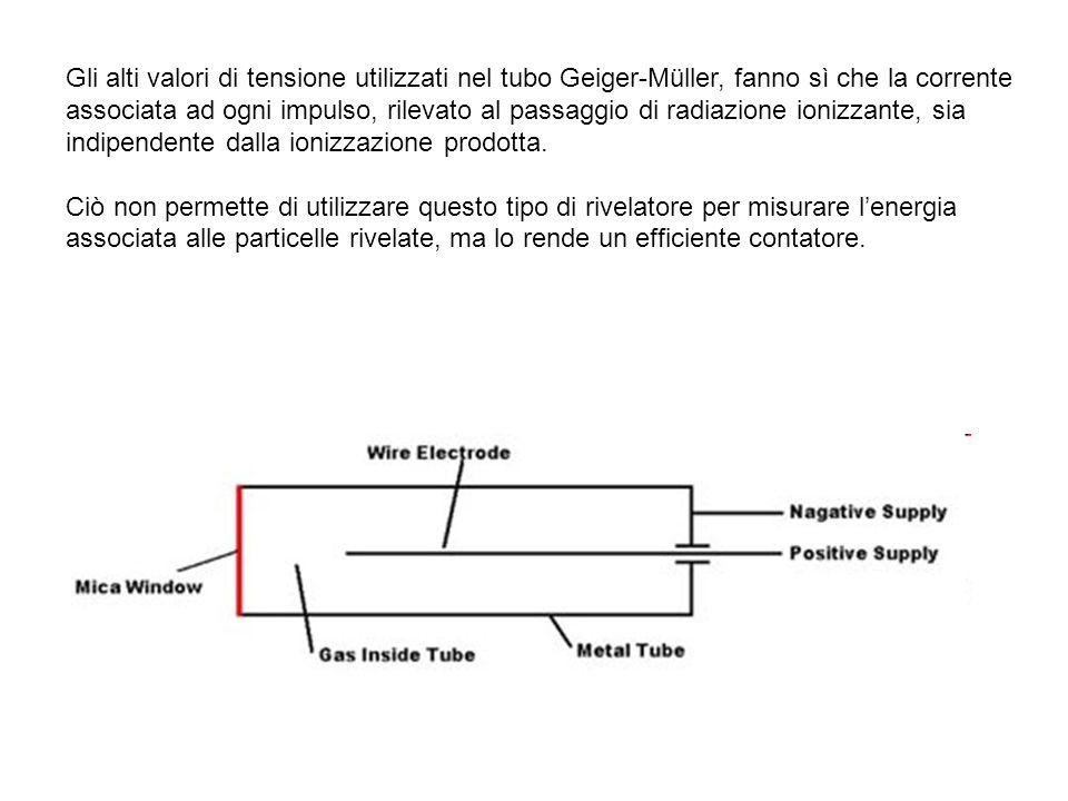 Gli alti valori di tensione utilizzati nel tubo Geiger-Müller, fanno sì che la corrente associata ad ogni impulso, rilevato al passaggio di radiazione