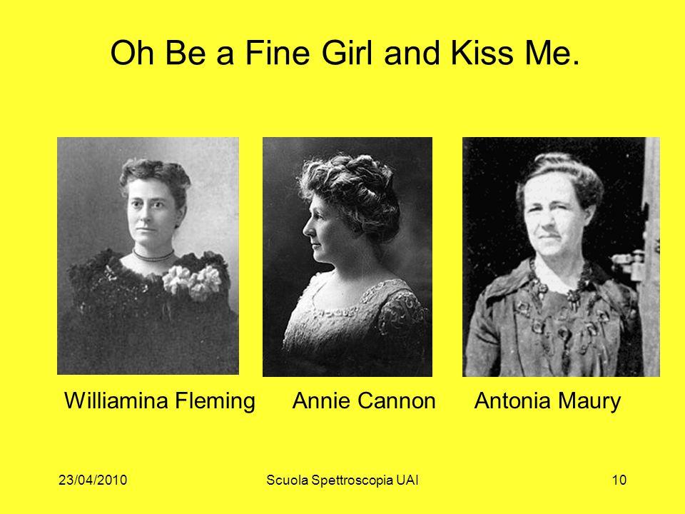 23/04/2010Scuola Spettroscopia UAI10 Oh Be a Fine Girl and Kiss Me. Williamina Fleming Annie Cannon Antonia Maury