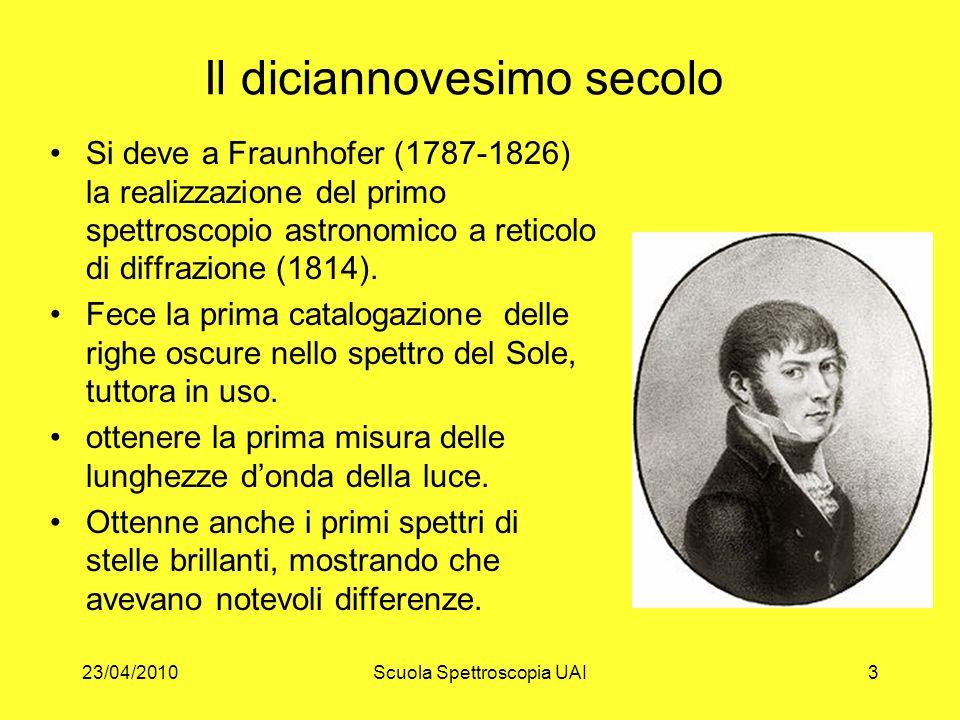 23/04/2010Scuola Spettroscopia UAI3 Il diciannovesimo secolo Si deve a Fraunhofer (1787-1826) la realizzazione del primo spettroscopio astronomico a r