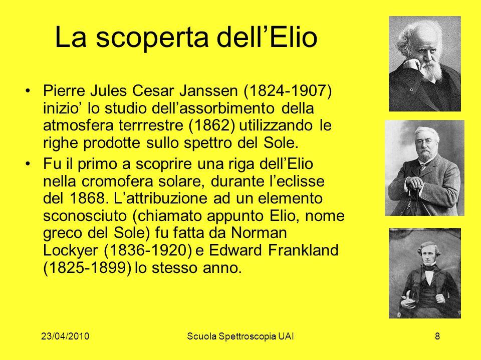 23/04/2010Scuola Spettroscopia UAI8 La scoperta dellElio Pierre Jules Cesar Janssen (1824-1907) inizio lo studio dellassorbimento della atmosfera terr