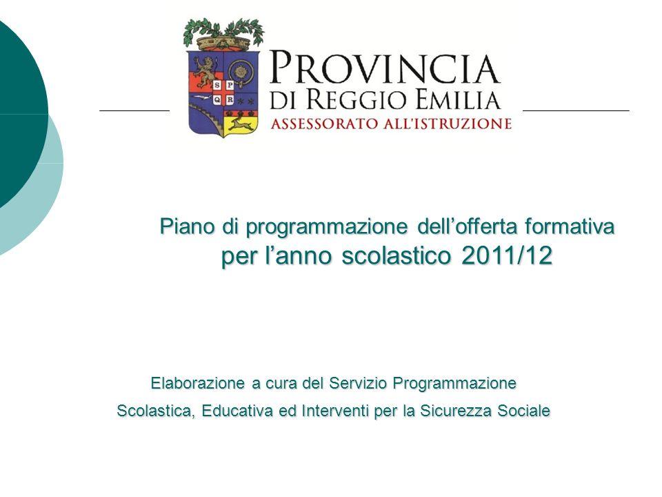Piano di programmazione dellofferta formativa per lanno scolastico 2011/12 Elaborazione a cura del Servizio Programmazione Scolastica, Educativa ed In