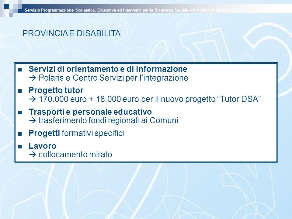 PROVINCIA E DISABILITA Servizio Programmazione Scolastica, Educativa ed Interventi per la Sicurezza Sociale – Provincia di Reggio Emilia Servizi di or
