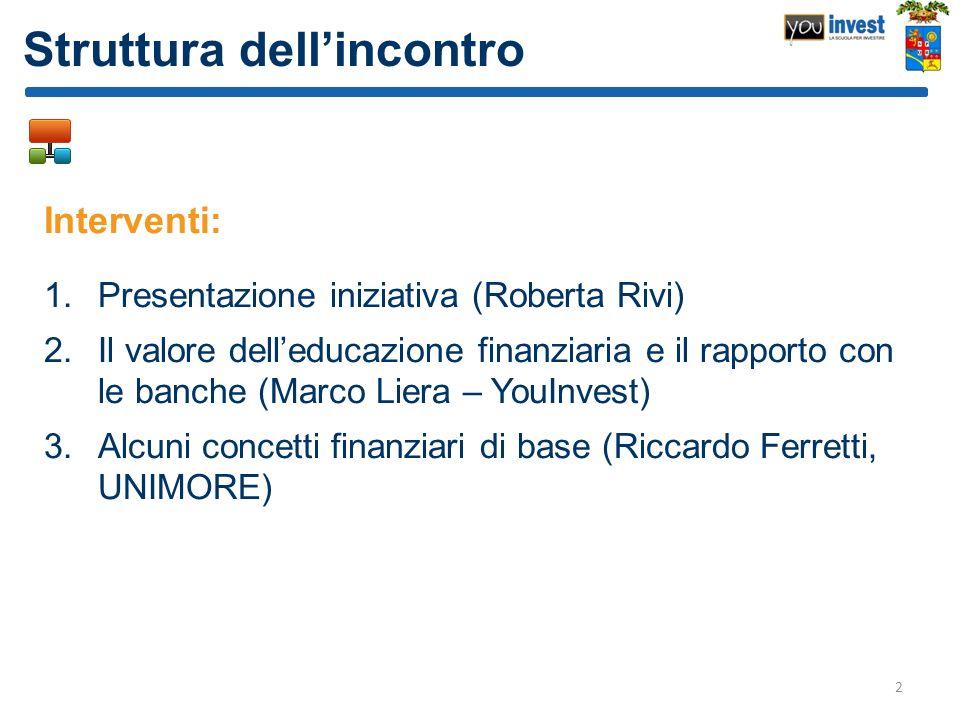 Struttura dellincontro Interventi: 1.Presentazione iniziativa (Roberta Rivi) 2.Il valore delleducazione finanziaria e il rapporto con le banche (Marco