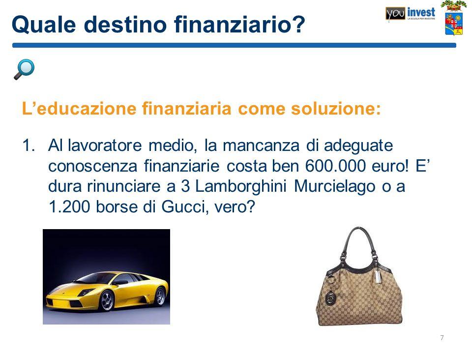 Quale destino finanziario? Leducazione finanziaria come soluzione: 1.Al lavoratore medio, la mancanza di adeguate conoscenza finanziarie costa ben 600