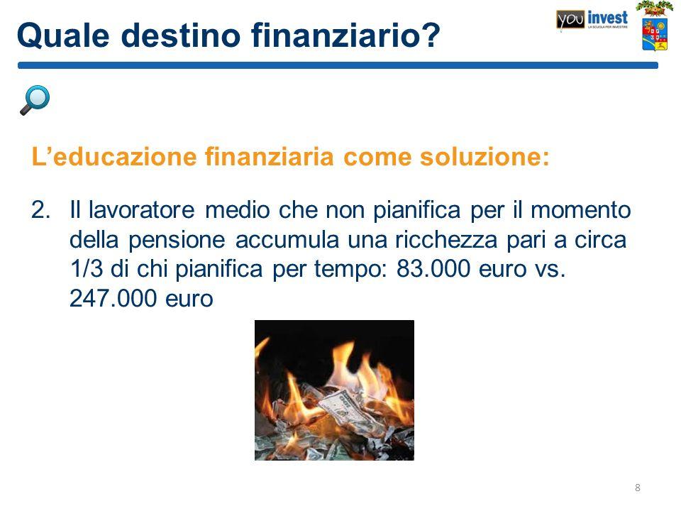Quale destino finanziario? Leducazione finanziaria come soluzione: 2.Il lavoratore medio che non pianifica per il momento della pensione accumula una