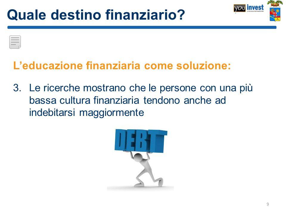 Quale destino finanziario? Leducazione finanziaria come soluzione: 3.Le ricerche mostrano che le persone con una più bassa cultura finanziaria tendono