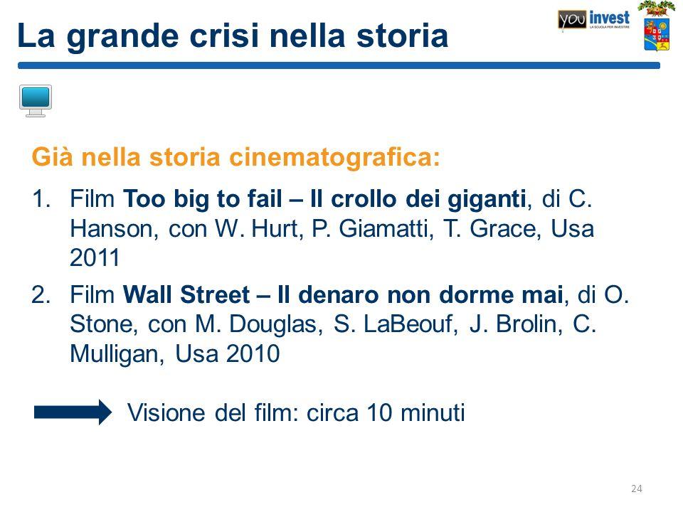 La grande crisi nella storia Già nella storia cinematografica: 1.Film Too big to fail – Il crollo dei giganti, di C. Hanson, con W. Hurt, P. Giamatti,
