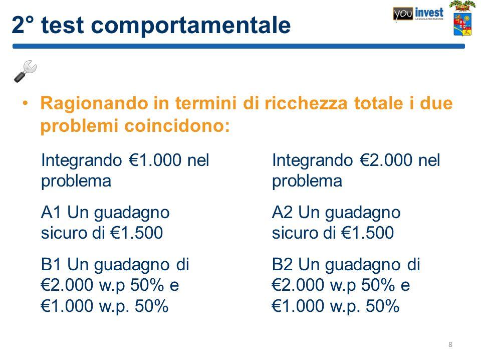 2° test comportamentale Ragionando in termini di ricchezza totale i due problemi coincidono: 8 Integrando 1.000 nel problema A1 Un guadagno sicuro di