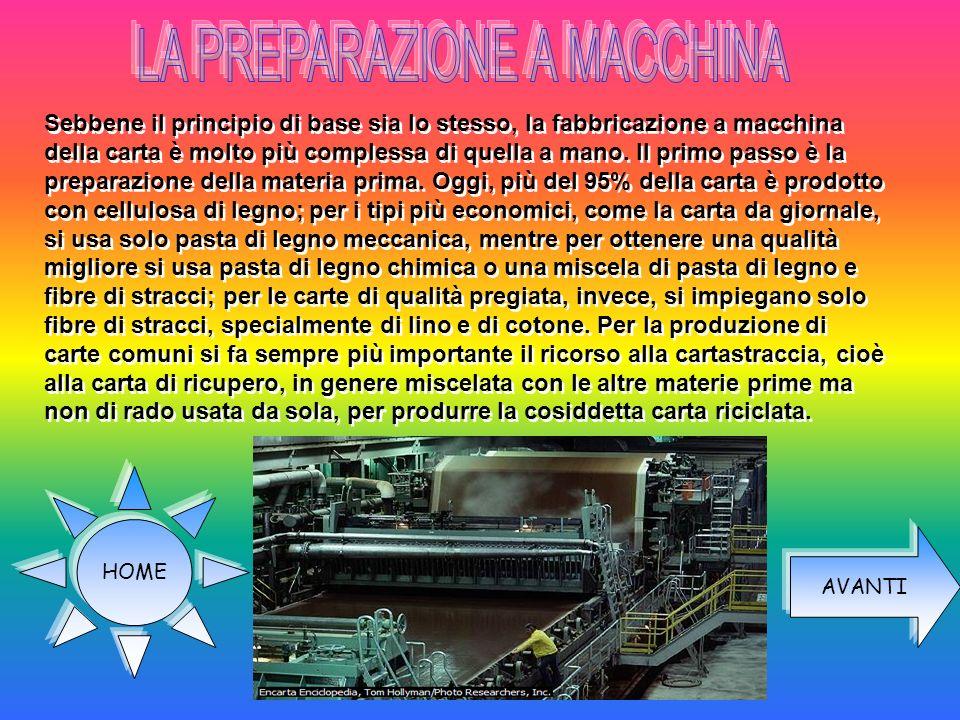 Sebbene il principio di base sia lo stesso, la fabbricazione a macchina della carta è molto più complessa di quella a mano. Il primo passo è la prepar