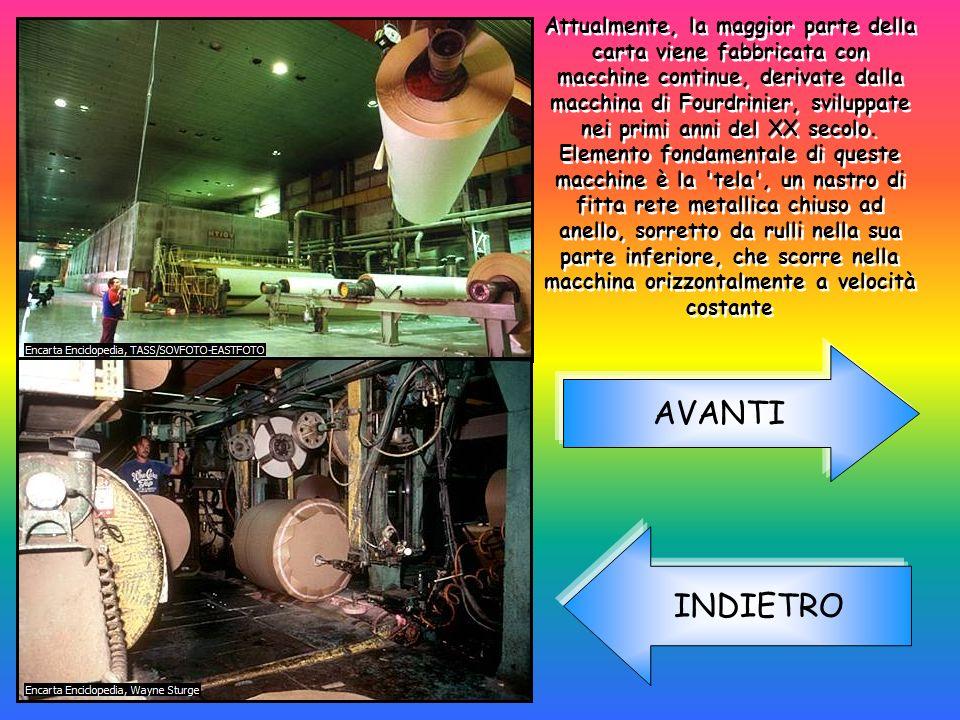 Attualmente, la maggior parte della carta viene fabbricata con macchine continue, derivate dalla macchina di Fourdrinier, sviluppate nei primi anni de