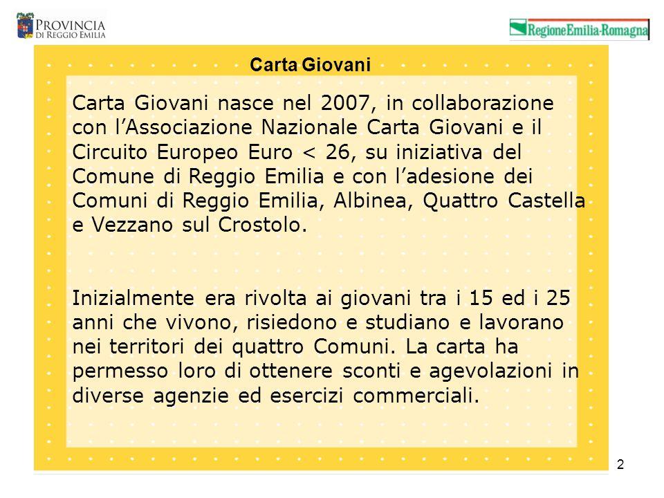 2 Carta Giovani nasce nel 2007, in collaborazione con lAssociazione Nazionale Carta Giovani e il Circuito Europeo Euro < 26, su iniziativa del Comune