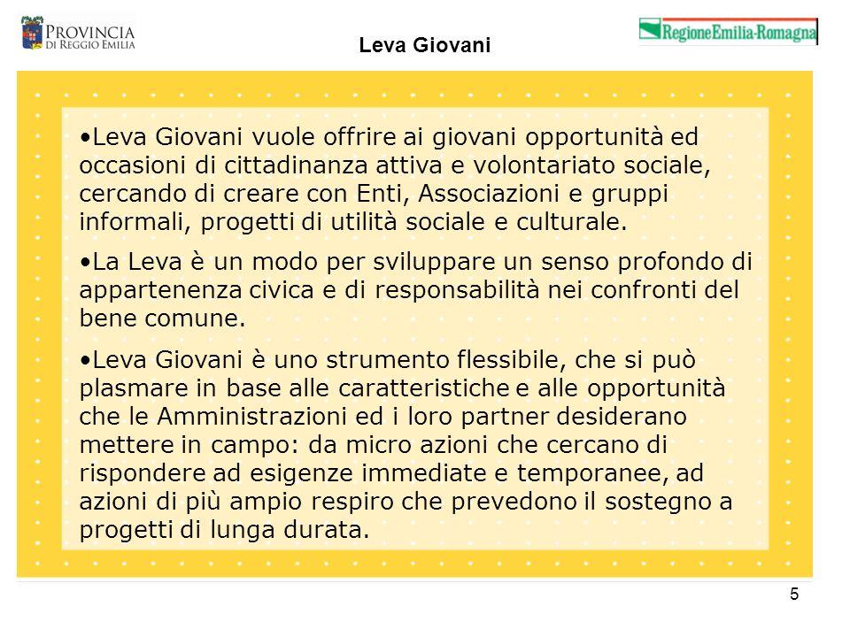 5 Leva Giovani Leva Giovani vuole offrire ai giovani opportunità ed occasioni di cittadinanza attiva e volontariato sociale, cercando di creare con Enti, Associazioni e gruppi informali, progetti di utilità sociale e culturale.