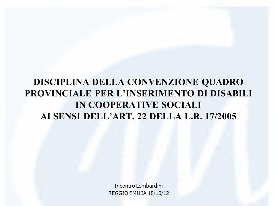 DISCIPLINA DELLA CONVENZIONE QUADRO PROVINCIALE PER LINSERIMENTO DI DISABILI IN COOPERATIVE SOCIALI AI SENSI DELLART. 22 DELLA L.R. 17/2005 Incontro L