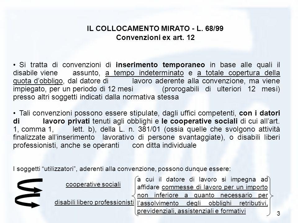 3 Si tratta di convenzioni di inserimento temporaneo in base alle quali il disabile viene assunto, a tempo indeterminato e a totale copertura della qu