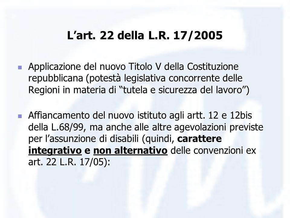 Lart. 22 della L.R. 17/2005 Applicazione del nuovo Titolo V della Costituzione repubblicana (potestà legislativa concorrente delle Regioni in materia